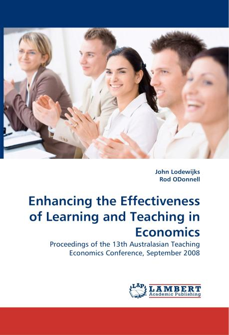 Enhancing the Effectiveness of Learning and Teaching in Economics. Edition No. 1 - Product Image