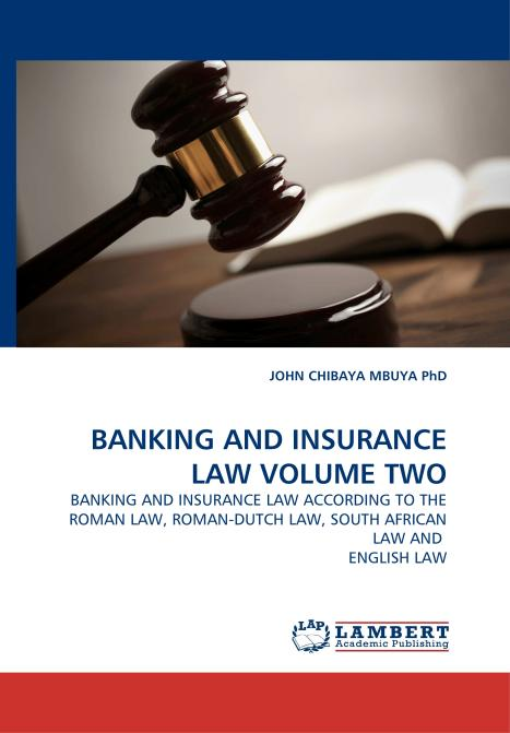 BANKING AND INSURANCE LAW VOLUME TWO. Edition No. 1 - Product Image