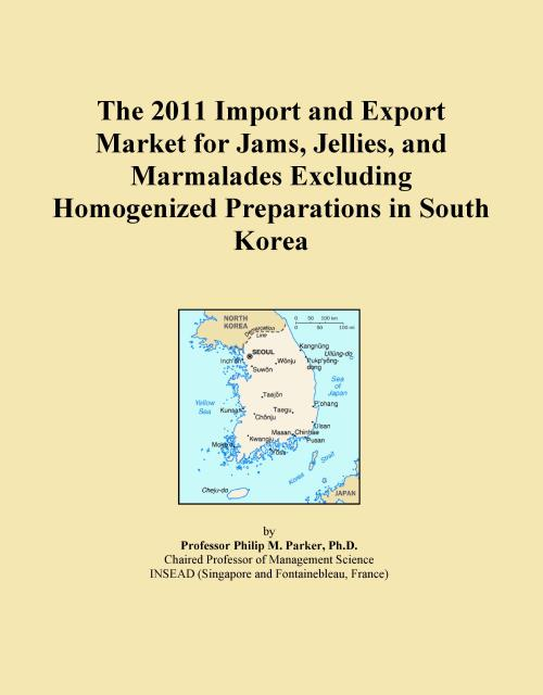 The 2011 Import and Export Market for Jams, Jellies, and Marmalades Excluding Homogenized Preparations in South Korea - Product Image