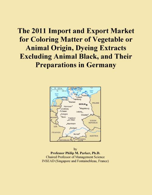 The 2011 Import and Export Market for Coloring Matter of Vegetable or Animal Origin, Dyeing Extracts Excluding Animal Black, and Their Preparations in Germany - Product Image