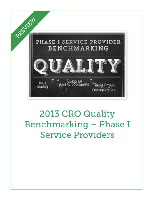 2013 CRO Quality Benchmarking - Phase I Service Providers - Product Image