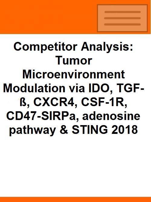 Competitor Analysis: Tumor Microenvironment Modulation via IDO, TGF-ß,  CXCR4, CSF-1R, CD47-SIRPa, adenosine pathway & STING 2018